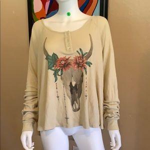 Beige WILDFOX Baggy long sleeve Shirt small